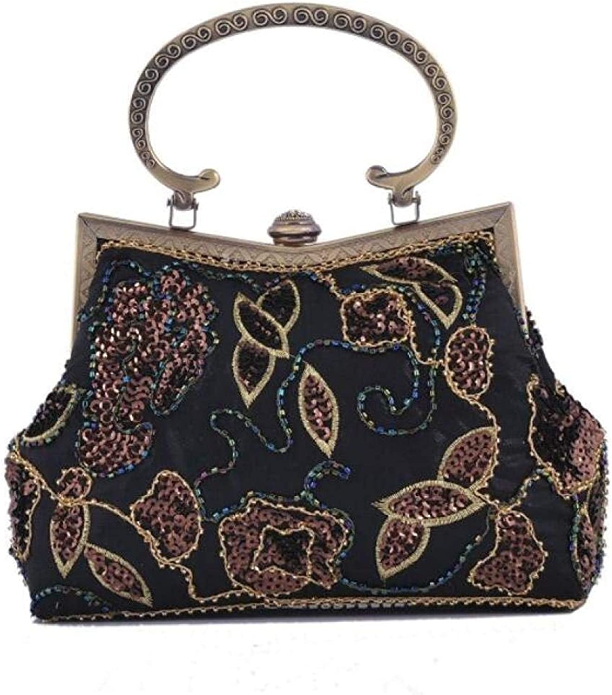 Evening Clutch Bag Ladies Retro Beaded Bag Cheongsam Evening Dress Bag Fashion Handbag Purse Handbag (color   Black, Size   One Size)