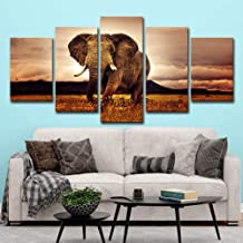 WLHRJ 5 Panel Wall Art Animal elephant Painting The Picture Print On Canvas For Home Decoration Gift Piece Stretched By Wooden Frame Ready To Hang 125cm(W) x 60cm(Ht)