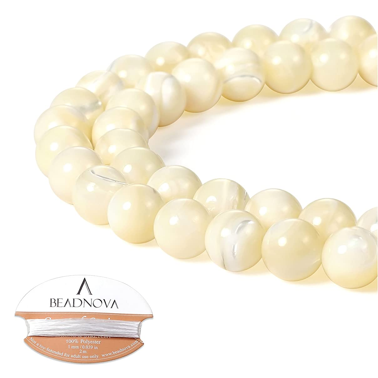 BEADNOVA Natural White Mother of Pearl Shell Beads Natural Crystal Beads Stone Gemstone Round Loose Energy Healing Beads with Free Crystal Stretch Cord for Jewelry Making (8mm, 45-48pcs) enfrs922415