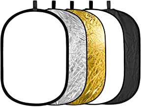 Neewer 5 in 1 Portable Round Collapsible Multi Disc Photography Lighting Reflector 24x36 inches/60x90centimeters with Carrying Case for Photo Studio Shooting