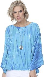 Santiki Marti Loose Fit Peekaboo Sleeved Top - Ocean Tie Dye
