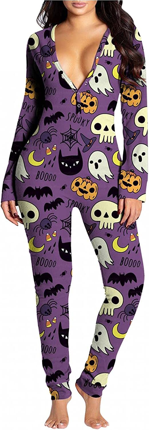 Lingbing Halloween Jumpsuits for Women, Cute Ghost Pumpkin Graphic Bodysuits V Neck Functional Button Pajamas Butt Flap