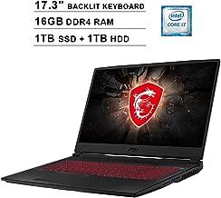 MSI Raider GL75 Newest 17.3 Inch FHD 1080p Gaming Laptop - Intel 6-Core i7-9750H up to 4.5GHz, 16GB DDR4 RAM, 1TB SSD (Boot) + 1TB HDD, GeForce GTX 1660 Ti 6GB, Backlit KB, HDMI, USB-C, Windows 10