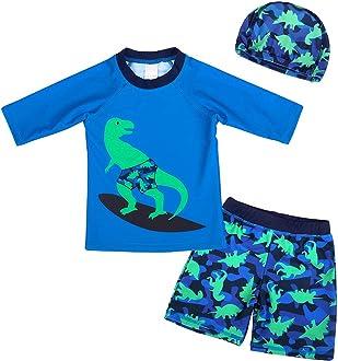 AmzBarley Boys Girls 1-Piece UV Protection Swimwear Kids Cartoon Animals Swimming Costume Child Rush Guard Swimsuit Beach Holiday Swim Wear Wetsuit