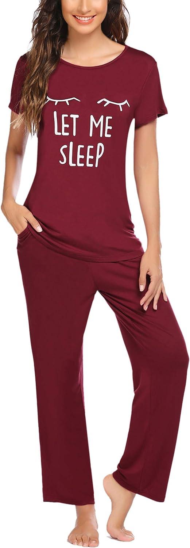 Ekouaer Womens Pajamas Set Short Sleeve Sleepwear Soft Pjs Cute Printed Lounge Set with Long Pants S-XXL