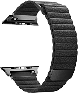 RUOQINI Compatible with Apple Watch Band 44mm 40mm [Series 4] 42mm 38mm [Series 3/2/1],Strong Magnetic Closure Leather Loop Replacement Starp Compatible for iWatch