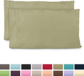 Cosy House Collection Pillowcases King Size - Sage Green Luxury Pillow Case Set of 2 - Premium Super Soft Hotel Quality Pillow Protector Cover - Cool & Wrinkle Free - Hypoallergenic