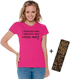Awkwardstyles Women's Republican Democratic Pizza Party T-Shirt Black + Bookmark