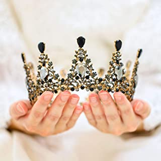 Unicra Bride Wedding Crowns and Tiaras Costume Black Rhinestones Bridal Queen Crown for Women and Girls