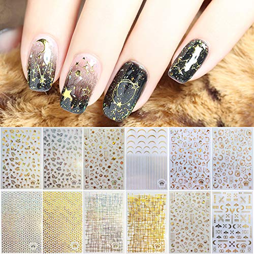TOROKOM 12 Sheets Metallic Self-Adhesive Nail Stickers for Women, 3D Metallic Star Moon Leaf Line Nail Design Stickers Decals Manicure Fingernail Decorations Gift for Women Girls