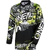 O'Neal | Camisa de Motocross Manga Larga | MX MTB | Ajustes para el máximo Rango de Movimiento, protección Cosida en el Codo | Element Youth Jersey Attack | Niños | Negro Neón Amarillo | Talla L