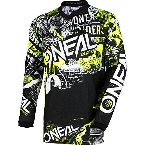 O'NEAL | Motocross-Shirt Langarm | Kinder | MX MTB Mountainbike | Passform für Maximale Bewegungsfreiheit, Eingenähter Ellbogenschutz | Element Youth Jersey Attack | Schwarz Neon-Gelb | Größe M