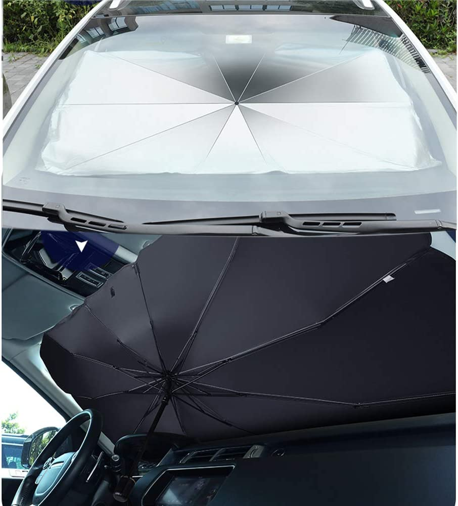 YUNM Car Windshield Sun Shade Umbrella Protection Cover UV Rays and Heat Sun Visor Protector,Foldable Reflector Umbrella Placed Behind Glass to Block UV Rays Fits Most Vehicle Models Large Size