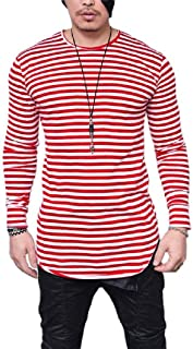 neveraway Mens O Neck Stripes T-Shirts Slim Fit Striped Hipster Tees Top