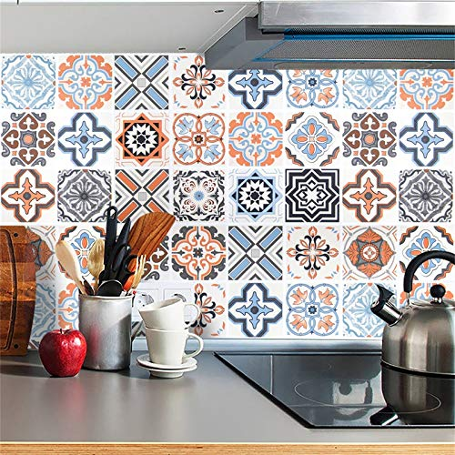 "Bohemian Pattern Peel and Stick Wallpaper Kitchen Wallpaper Contact Paper Decorative Self Adhesive Wallpaper Peel and Stick Colorful Tile Removable backsplash Wall Paper for Kitchen Vinyl 16""x 196.8"""