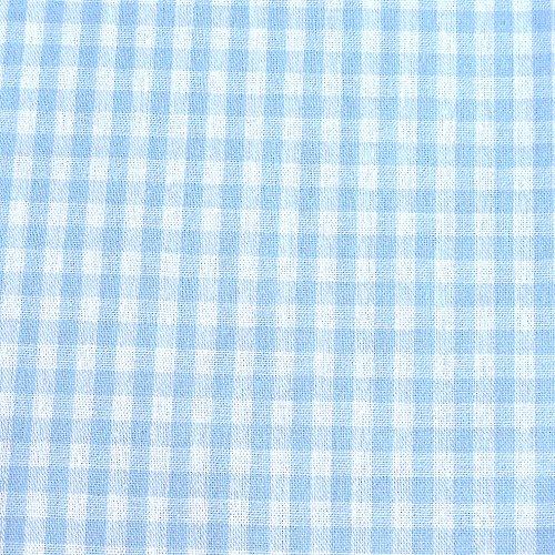 0,5m Vichy-Karo groß 5mm Stoff hellblau/ weiß Meterware 100% Baumwolle