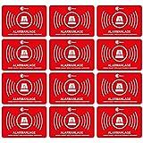 12 Alarmgesichert Aufkleber I 5x3 cm außenklebend UV + wetterfest I Hinweis Achtung Alarm-Anlage...