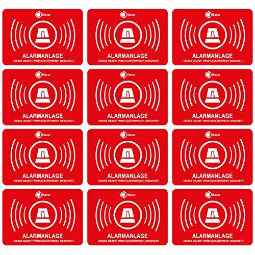 12 Alarmgesichert Aufkleber I 5x3 cm außenklebend UV + wetterfest I Hinweis Achtung Alarm-Anlage für Fenster-Scheibe Tür Gebäude Objekt Garage Auto Sticker rot I hin_047