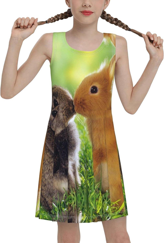 Cute-Kiss-Rabbit Sleeveless Dress for Girls Casual Printed Lightweight Skirt