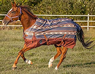 Chicks Saddlery Showman Brown/Turquoise Southwest 1200 Denier Waterproof Turnout Sheet - Horse