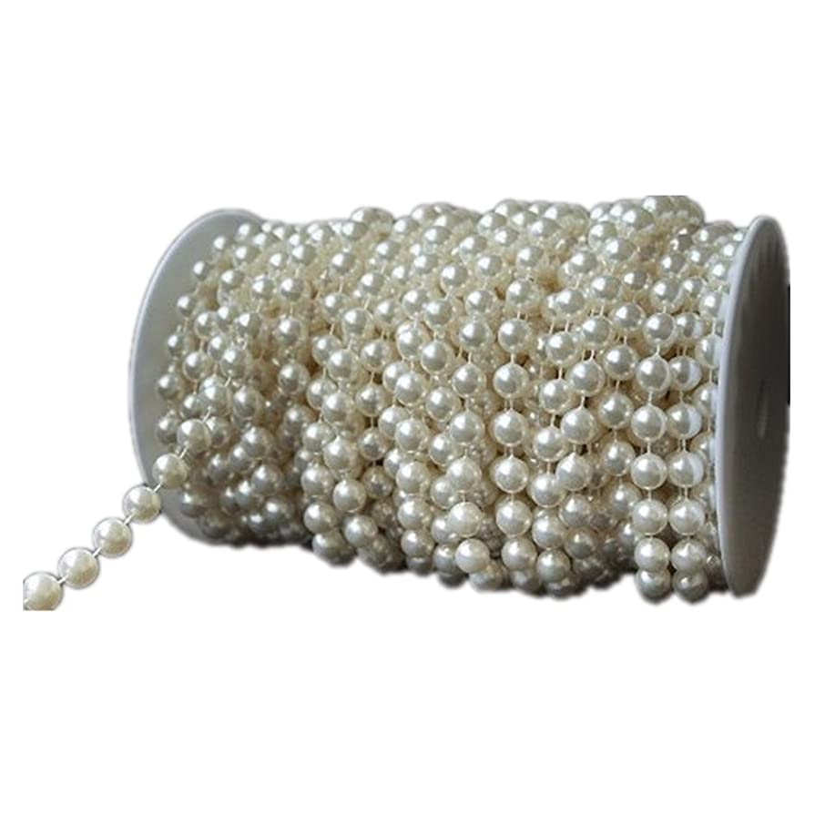 KUPOO 82.5 ft DIY Jewery Accessory Pearls Beads by The Roll - Wedding Decorations (6mm Ivory)