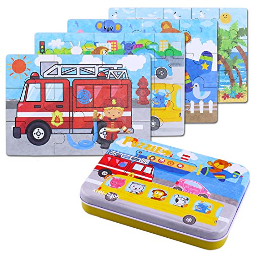 BBLIKE Jigsaw Wooden Puzzles Toy in a Box for Kids, Pack of 4 with Varying...