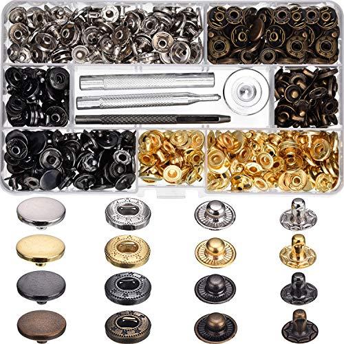 Hotop 100 Set Druckknöpfe Leder Snaps Button Kit Druckknöpfe mit 4 Stück Befestigungswerkzeuge, 12,5 mm Durchmesser