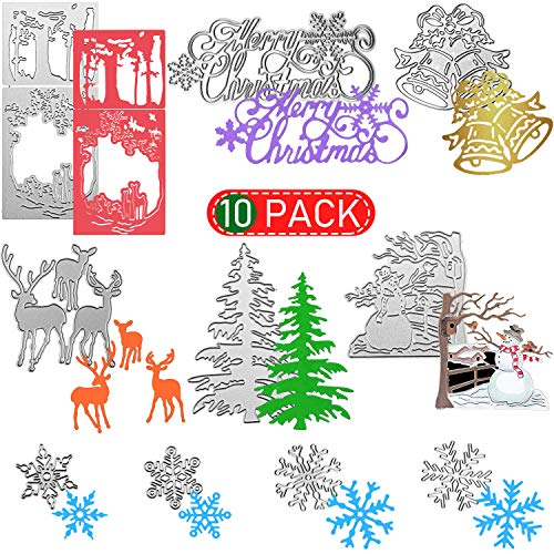 10 Pieces Christmas Metal Die Cuts Snowflake Deer Bells Snowman Merry Christmas Pattern Christmas Cutting Dies for DIY Scrapbook Paper Card Making Craft Decoration Supplies Album Paper Card