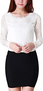 Women's Sheer Long Sleeves Flower Embroidery Lace Top