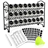 SWOMMOLY Spice Rack with 24 Empty Round Spice Jars, 396 Spice Labels with Chalk Marker and Funnel...