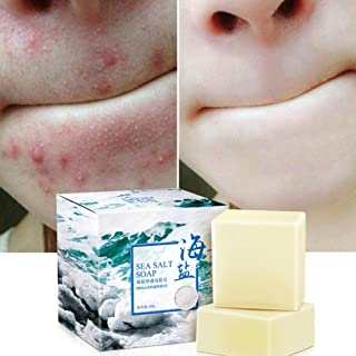 Studyset Sea Salt Soap Cleaner Removal Pimple Pores Acne Treatment Goat Milk Moisturizing Face Care Soap