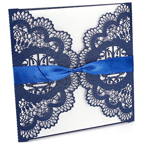 Anladia 20 Invitation Mariage Carte Faire-Part Fleur ciselé au Laser Bleu + Noeud Ruban et enveloppe