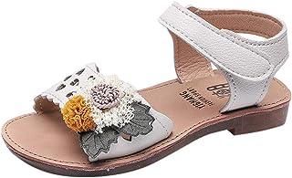 [Feiscat] 子供靴 サンダル 女の子 ホロウ 花 シンプル ピンク 履き心地良い ファーストシューズ キッズ靴 可愛い おしゃれ ベビーシューズ 通学 通園 誕生日 運動会 宴会 出産祝い プレゼント ダンス 普段着