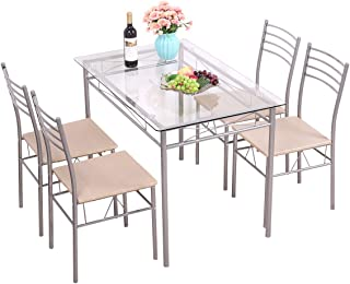 BWM.Co 5 Piece Dining Table Set Tempered Glass Top Table w/ 4 Upholstered Chairs Kitchen Furniture
