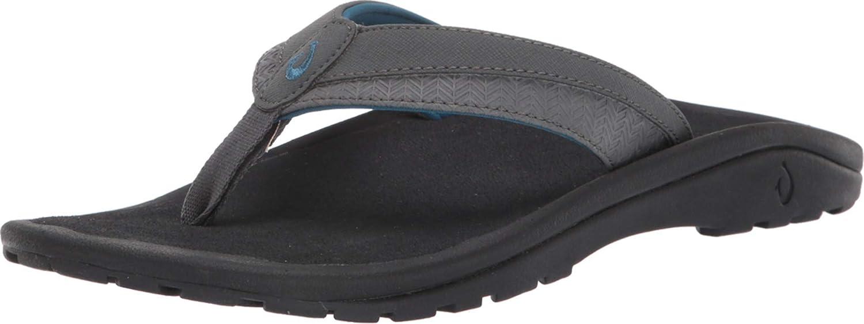 OluKai Ohana Koa Men's Beach Sandals, Quick-Dry Flip-Flop Slides, Water Resistant & Lightweight, Compression Molded Footbed & Soft Comfort Fit