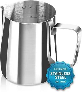 Santo Espresso Steaming Pitcher 12 oz, Espresso Milk Frothing Pitcher 12 oz, Coffee Milk Frothing Cup, Coffee Steaming Pit...