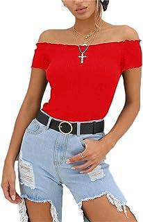 Women's Off Shoulder Bodysuit Leotard Sexy Basic Short Sleeve Bodycon Tops