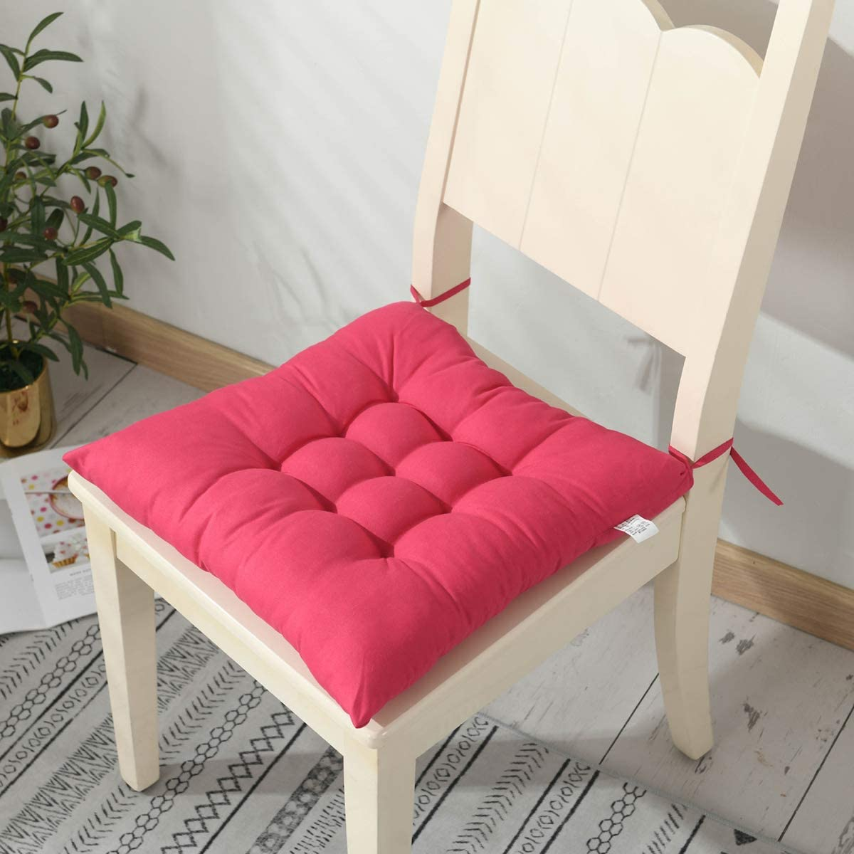 Cuscini per sedie quadrati con lacci Set di patio Arredamento cucina Cuscino per sedia da ufficio 40 x 40 cm Cuscini morbidi per sedie da pranzo extra confortevoli Cuscini per sedili per giardino