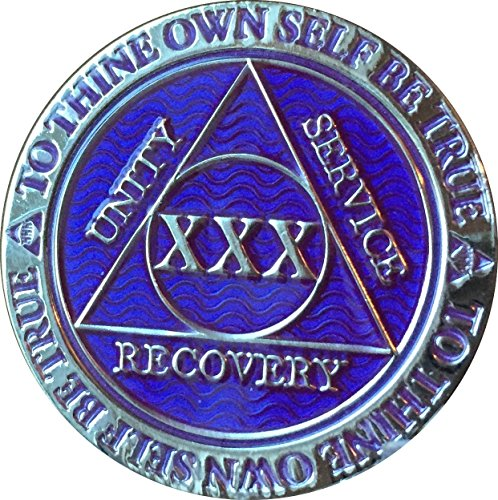 Recoverychip 30 Year AA Medallion Reflex Purple Silver Plated XXX Chip