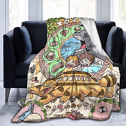 HSBZLH Manta para Bebes Totoro Throw Blanket Manta Cálida Felpa Ultra Suave para Sofá Cama Y Sa Estar Idea Regalo Large 80X60 In For Adults