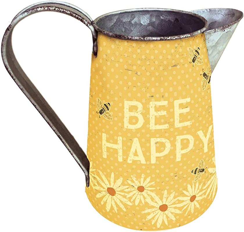 Primitives By Kathy Rustic Tin Pitcher Small Bee Happy