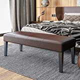 带皮革坐垫凳的长凳床尾凳客厅脚凳实木框架休息凳防滑凳脚稳定耐用,ブラウン,80x40x40cm
