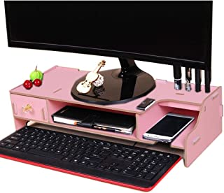 High Quality Monitor Wooden Stand Computer Desk Organizer with Keyboard Mouse Storage Slots (Color : Pink)