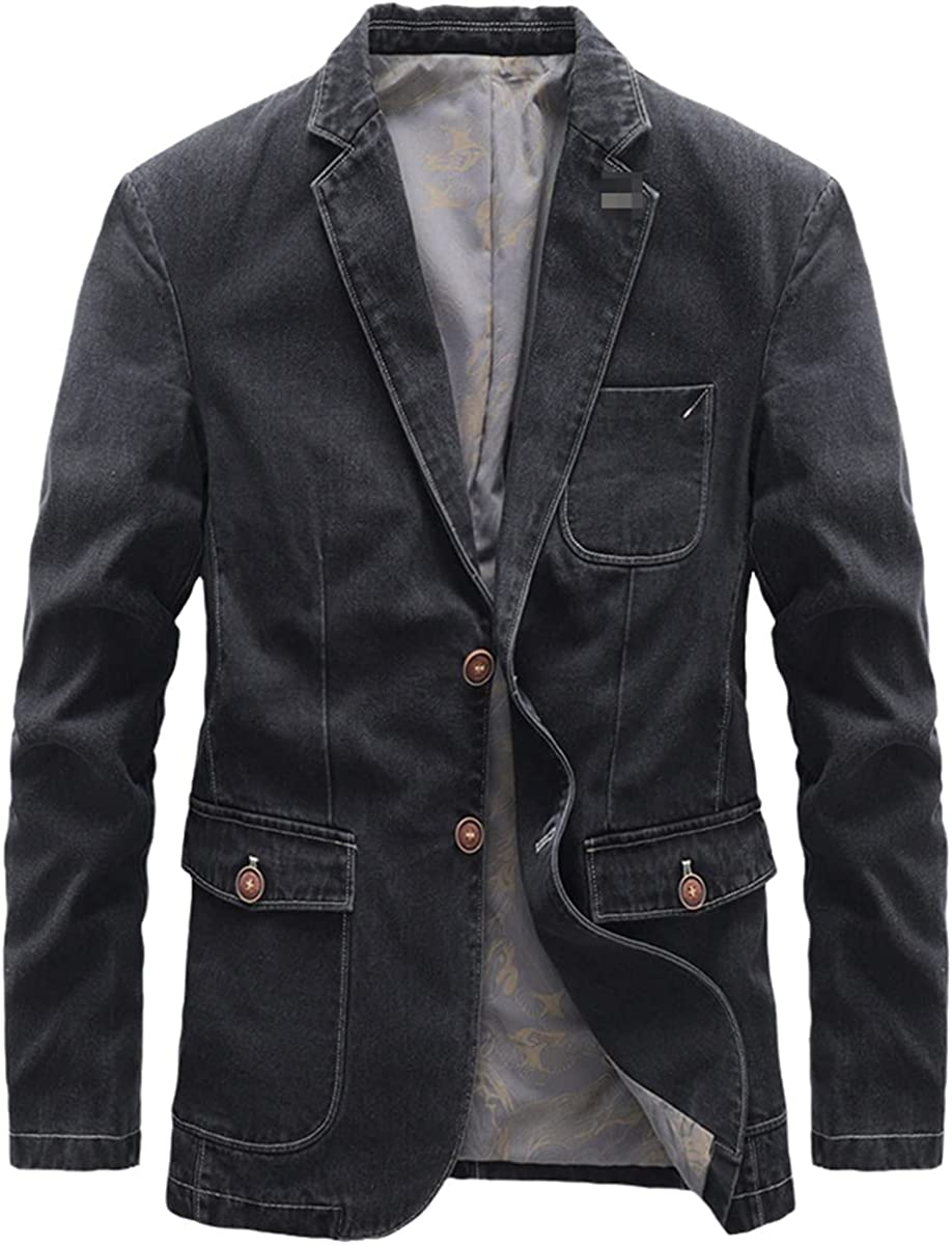Pure Cotton Men's Denim Suit Jacket Single-Breasted Pocket Gray Casual Street Coat