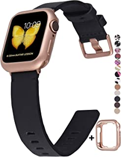 JSGJMY Genuine Leather Band with Case Compatible with Apple Watch 38mm 40mm 42mm 44mm Women Men for iWatch Series 5 4 3 2 1 (Black/Rose Gold, 38mm/40mm S/M)