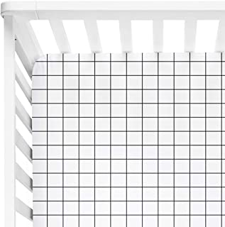 Mini Crib Sheet Monochrome Grid Bedding Boy 24x47 inch Fitted Sheet Black and White