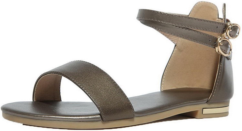 AmoonyFashion Women's Pu Open Toe Low-Heels Solid Sandals