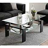 Depointer Life Glass Coffee Table, Rectangle Coffee Table for Living Room Modern Side Coffee Table with Lower Shelf,Perfect for Living Room Conversation Leisure Occasions, Metal Leg,Black