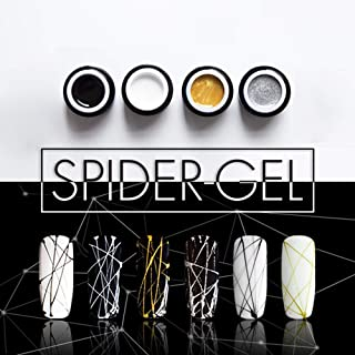 Vonrui Spider Gel Nail Art Line Silk Point Creative Pulling Wire Painting Gel Varnish Spider Web Gel 3D Emboss Soak Off White 4 colors/set