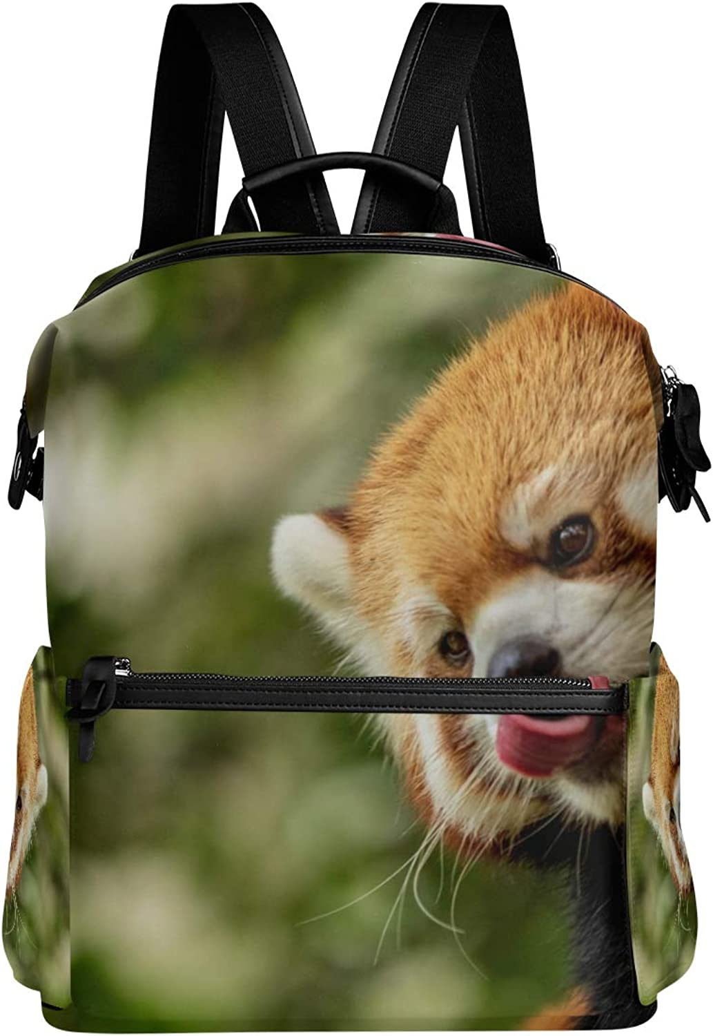 MONTOJ Raccoon Lips with Tongue Leather Travel Bag Campus Backpack